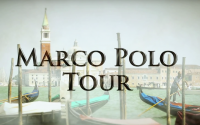 Perillo Tours Marco Polo Tour thumbnail features a muted backdrop of traditional gondolas docked in Venice, Italy, words in the foreground read; MARCO POLO TOUR (video production by Merging Media).