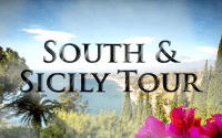 Perillo Tours South Italy and Sicily Tour thumbnail features landscape view of the Sicilian cost line a view point one would see while on a South & Sicily Perillo Tour, words in foreground read; SOUTH & SICILY TOUR (video production by Merging Media).