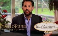 Perillo Tours 2 Travel Styles Commercial shows Steve Perillo sitting for an interview for the Perillo Tours 2 Travel Styles Commercial words below him read; Perillo Tours Since 1945; ItalyVacations.com A Perillo Tours Company (video production by Merging Media).