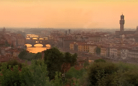 Perillo Tours Trade Pop Ups commercial shows a beautiful areal view of the Arno river running through Florence, Italy and it's infamous Ponte Vecchio bridge (video production by Merging Media).