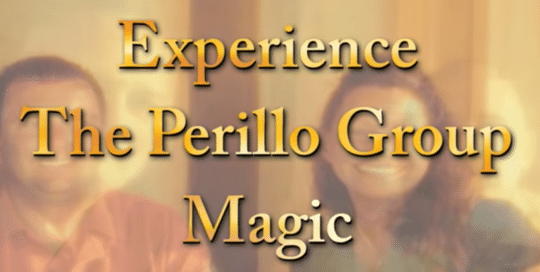 Perillo Tours Italy Group Magic commercial thumbnail features a blurred out couple in the background with the foreground words reading; Experience The Perillo Group Magic (video production by Merging Media).