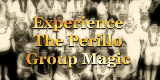 Perillo Tours Hawaii Group Magic provides an insight to the benefit of a Perillo Group tour, video thumbnail is a black and white group shot of tourist all wearing traditional Hawaiian leis (video production by Merging Media).