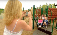 Panasonic Kids and Pets instructional video thumbnail features host, Mara McFalls, works with professional photographer, Jeff Swensen, using the Panasonic Lumix digital camera, to educate you on how to take the best photos of your little ones, Kids and Pets (video production by Merging Media).