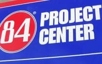 84 Lumber Doors How-To video thumbnail is the company 84 Lumber's red and blue logo with white lettering represents video of How To project for doors in your home, text on screen reads; 84 PROJECT CENTER (video production by Merging Media).