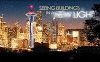 Bobrick Closing Video from 2008 conference, video thumbnail features the Seattle skyline at night, building are all lit with a golden glow except for the Space Needle which is blue, red and white, words in the sky read; Seeing Buildings in a New Light (video production by Merging Media).