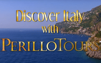 Beautiful backdrop of an Italian shoreline with text reading; Discover Italy with Perillo Tours for their most famous commercial for Perillo Tours Discover Italy tour (video production by Merging Media)