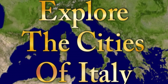 Perillo Tours Cities of Italy video thumbnail depicts a global view map of Italy, words in foreground read; Explore The Cities Of Italy (video production by Merging Media).