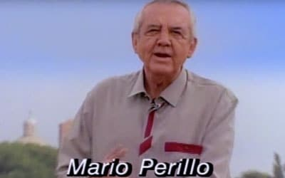 "Mature gentleman with caption reading his name, ""Mario Perillo"", Discover Italy with Perillo Tours; legendary escorted vacation tours (video produced by Merging Media)."