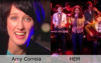 Split screen of two music artists to preform on the stage of Club Cafe in Pittsburgh, Pennsylvania, Amy Correia on the left and HEM on the right (video production by Merging Media).