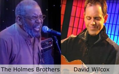 Live at Club Cafe Episode 4 features split screen of two musical artists in action, David Wilcox on the right and The Holmes Brothers on the left, performing on the stage of Club Cafe in Pittsburgh, Pennslyvania (video production by Merging Media).