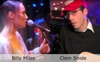 Live at Club Cafe Episode 5 features a split screen of two musical artists in action, Billy Miles on the left and Clem Snide on the right, performing on the stage of Club Cafe in Pittsburgh, Pennslyvania (video production by Merging Media).