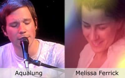 Live at Club Cafe Episode 10 features split screen of two musical artists in action, Aqualung on the left while Melissa Ferrick is on the right, performing on the stage of Club Cafe in Pittsburgh, Pennslyvania (video production by Merging Media).