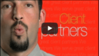 USWeb Who Are We video thumbnail is a head shot of a man with dark hair and a goatee against a red background with words reading, Client Partners.