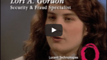 USWeb Lucent Technologies video thumbnail is a close up of a young woman with dark wavy hair, title above claims her to be, Lori A. Gordon, Security & Fraud Specialist; words below read; Lucent Technologies.