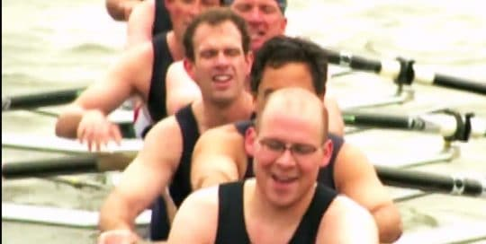 Bobrick Show Close Video thumbnail features a close up of a men's rowing team, signifying the effort of execution and strategy that was emphasized at the 2006 Bobrick Business Conference (video production by Merging Media).