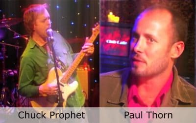 Live at Club Cafe Episode 1 features a split screen of two artists in action, Paul Thorn on the right and Chuck Prophet on the left, performing on the stage of Club Cafe in Pittsburgh, Pennslyvania (video production by Merging Media).