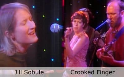 Live at Club Cafe Episode 6 features split screen of two musical artists in action, Jill Sobule on the left while Crooked Finger is on the right, performing on the stage of Club Cafe in Pittsburgh, Pennslyvania (video production by Merging Media).