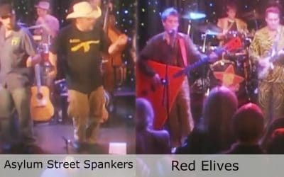 Live at Club Cafe Episode 11 thumbnail features split screen of two musical artists in action, Asylum Street Spankers on the left while Red Elvis is on the right, performing on the stage of Club Cafe in Pittsburgh, Pennslyvania (video production by Merging Media).