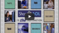 USWeb Shop@AOL features a collage of a variety of people using a computer, the words around the collage read; Safe, Fun, Secure, Brands, Fast; and the wording in the middle of the collage reads; Shop@AOL, is THE Destination.