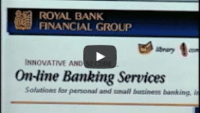 USWeb Royal Bank Case Study video thumbnail words read; Royal Bank Financial Group, Innovative and Secure On-Line Banking Services, Solution for Personal and Small Business Banking.