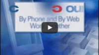 USWeb PNCBank AccountLink Launch video thumbnail is a blue background with a transparent image of a computer monitor on the left and a close up of a keyboard on the right, words above read; Account Link, By Phone and By Web, Work Together.